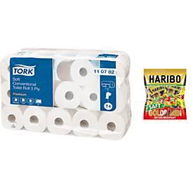 TORK® Offre spéciale : 30 rouleaux de papier Toilette Tork, 3 épaisseurs, + 220 g de bonbons