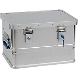 Transportbox Alutec CLASSIC 30, aluminium, 30 l, L 430 x B 335 x H 270 mm, cilinderslot, aluminium, 30 l, L 430 x B 335 x H 270 mm, cilindersloten