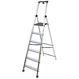 Trapladder Facal PiuSu, 8 stappen, aluminium, enkelzijdige toegang, aluminium, enkelzijdige toegang