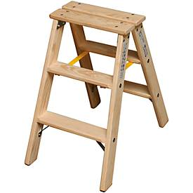 treden dubbele ladder, hout, 2 x 3 treden, 2 x 3 treden