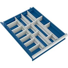 Trennwand mit 3 Längs- und 12 Querteiler für Schubladenschrank 550 mm breit