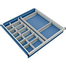Trennwand mit 3 Längs- und 14 Querteiler für Schubladenschrank 715 mm breit