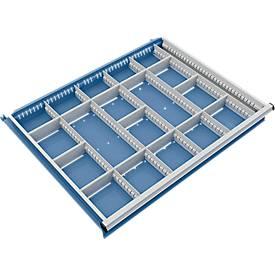 Trennwand mit 5 Längs- und 13 Querteiler für Schubladenschrank 910 mm breit
