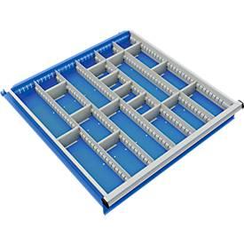 Trennwand mit 5 Längs- und 15 Querteiler für Schubladenschrank 715 mm breit