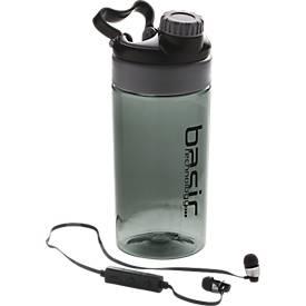Trinkflasche XD-Design mit Blutetooth-Kopfhörern, schwarz/grau