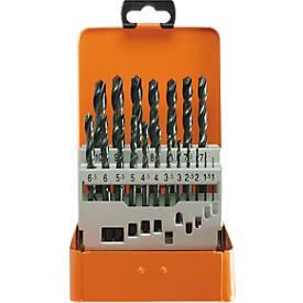Twistboorset Projahn BASIC, 19 korte schroefboormachines, in metalen doosje