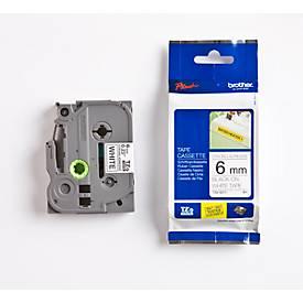 TZ-tapecassette TZ-S211, 6 mm breed, wit/zwart
