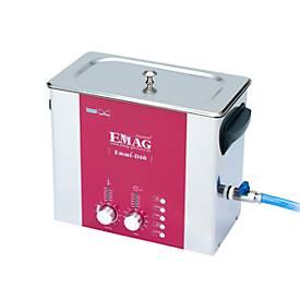 Ultraschallreiniger EMAG Emmi® D 60, Edelstahl, 5,3 l, Sweep & Degas, Zeitschaltuhr, Ablauf & Heizung