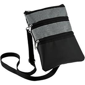 Umhängetasche Triple Bag Trendy, 3 Fächer, Gurt verstellbar, Werbedruck 100 x 50 mm, schwarz-grau