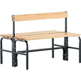 Umkleidebank, Stahlrohr/Holz, doppelt, mit Rückenteil, L 1015/1500/2000 mm