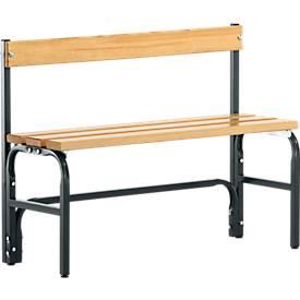 Umkleidebank, Stahlrohr/Holz, einfach, mit Rückenteil, L 1015/1500/2000 mm