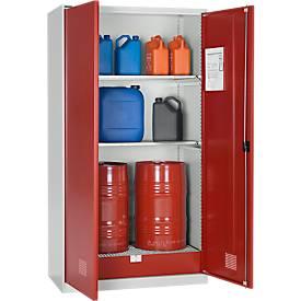 Umweltschrank SSI Schäfer, für Öl etc., 2 x 60 l Fässer und 8 x 20 l Kanister, B 1055 x T 520 x H 1950 mm, l.grau/rub.rot