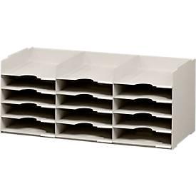 Universal-sorteerbakjes A4+, met 15 vakken, grijs