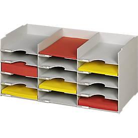 Universal-sorteerbakjes A4, stapelbaar, met 15 vakken, grijs