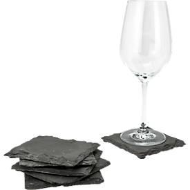 Untersetzer für Gläser Sei Ardesia, L 100 x B 100 x H 5 mm, mit Schutzgleitern, Naturschiefer, schwarz, 6 Stück