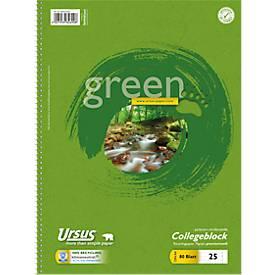 Ursus Collegeblock Green, A4, 80 Blatt