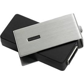 USB-Stick Metall F-90, Speicherkapazität 4 GB, schwenkbarer Bügel, schwarz