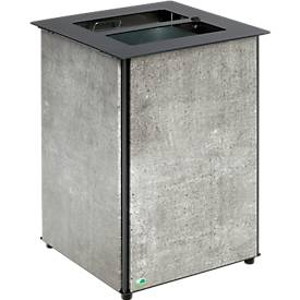 VAR-afvalbak, inhoud 80 L, met driehoekige vergrendeling, voor vloerbevestiging, betonlook