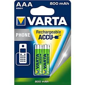 VARTA Akkus Phone, Mignon AA o. Micro AAA, f. Analoge/digitale Telefone, 2 Stück