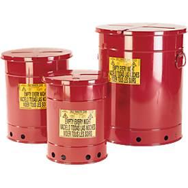 Veiligheidsafvalbak van plaatstaal, voor poetsdoeken, handmatig te bedienen (zonder voetpedaal), 20 liter, rood