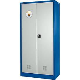 Veiligheidskast, B 950 x D 500 x H 1950 mm, 4 lekbakken, blauw