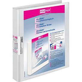 VELOFLEX presentatieringmap met 4 D ringen, A4, karton PP, 25 mm, wit