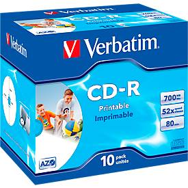 Verbatim CD-R Datalife plus printable, Kapazitä...