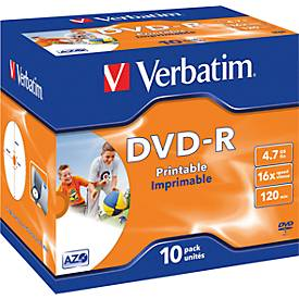 Verbatim® DVD-R printable (Tinte), bis 16fach, 4,7 GB/120 min, 10 Jewelcases