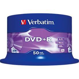 Verbatim® DVD+R, bis 16fach, 4,7 GB/120 min, 50er-Spindel