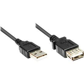 Verlängerungskabel USB 2.0, Stecker A/A, Länge wahlweise 1,8 bis 5 Meter