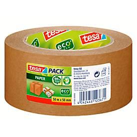 Verpakkingstape tesapack® Papier ecoLogo®, gemaakt van papier, 50 m x 50 mm, dikte 107 µ, 6 rollen, 50 m x 50 mm.