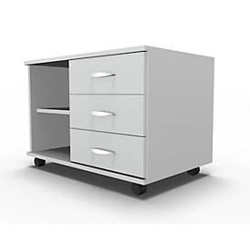 Verrijdbaar dressoir Maro, legplank + 3 laden + keukengereilade, B 800, rechts verstelbaar, lichtgrijs