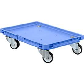 Verrijdbaar onderstel, kunststof wielen, L 600 x B 400 x H 125 mm, blauw