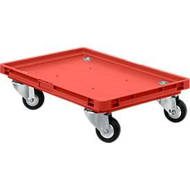 Verrijdbaar onderstel, rubber wielen, L 600 x B 400 x H 125 mm, rood