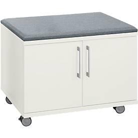 Verrijdbare kast, met zitfunctie, B 800 x D 450 x H 590 mm, wit
