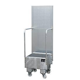 Verrijdbare opvangbak met geperforeerde plaatwand, van staal, inhoud 1 x 60 liter trommel, gegalvaniseerd, met een inhoud van 1 x 60 liter.