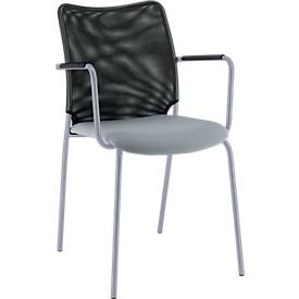 Vierfuß-Stuhl Sun, mit Armlehnen, alusilber