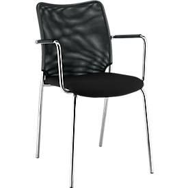 Vierfuß-Stuhl Sun, mit Armlehnen, verchromt/schwarz