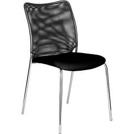 Vierfuß-Stuhl Sun, ohne Armlehnen, verchromt/schwarz
