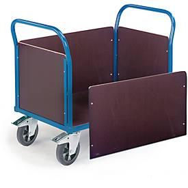 Vierwandige trolley, 1600 x 770 mm, draagvermogen 1.200 kg.