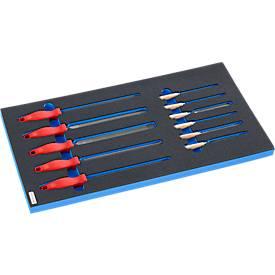 Vijlenset in hardschuim inleg, 11 stuks, voor kasten uit de FS4-serie, afmetingen 299 x 437 mm.