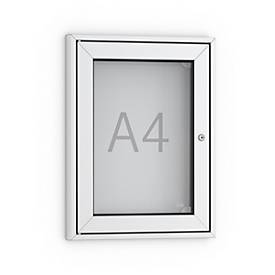 Vitrinekast voor posters, rechte hoeken, aluminium/zilver kleur, 1 slot, A4