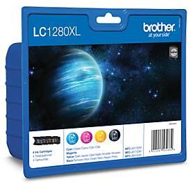 Voordeelpak: brother  4 inktpatronen LC-1280XLBK/C/M/Y, zwart, cyaan, magenta, geel