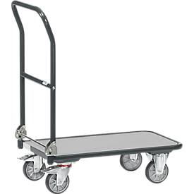 Vouwwagen, staal/hout, tot 250 kg, 900 x 600 mm, TPE-banden, antracietgrijs, met een maximale belasting van 250 kg.