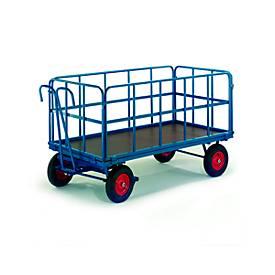 Vrachtwagen met vlakke laadvloer met buisvormige roosterwanden, massief rubberen wielen, 1530 x 730 mm, max. belasting 1000 kg.