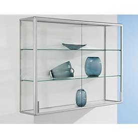 Wand-Präsentationsvitrine, Aluminium-Rahmen, silber