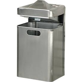 Wandasbak/afvalcombinatie, 35 liter, roestvrij staal, 35 liter