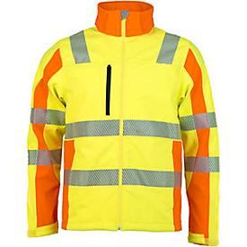 Warnschutz-Softshelljacke, EN 20471-2, gelb/orange oder orange/gelb, Reflexstreifen