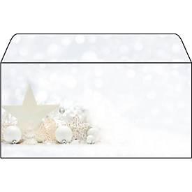 Weihnachts-Briefumschlag White Stars, DIN lang, gummiert, 25 Stück