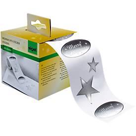 Weihnachts-Sticker Silver Greetings, 200 Stück